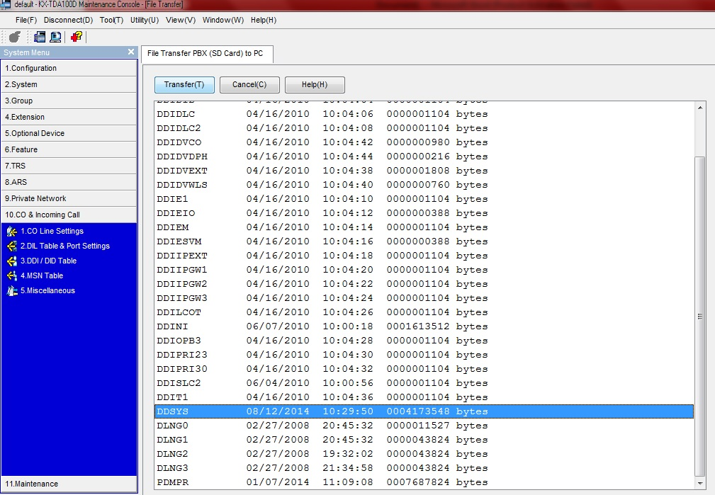 Backup KX-TDA-chon time
