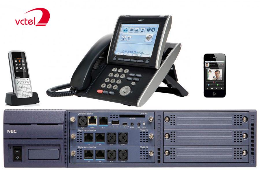 Tổng đài NEC SV8100 cấu hình 8 trung kế 8 thuê bao digital 8 thuê bao analog vctel