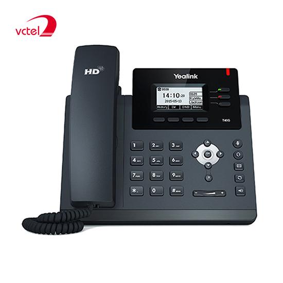 Điện thoại bàn cố định Yealink SIP-T40G hỗ trợ đàm thoại hội nghị 03 bên vctel