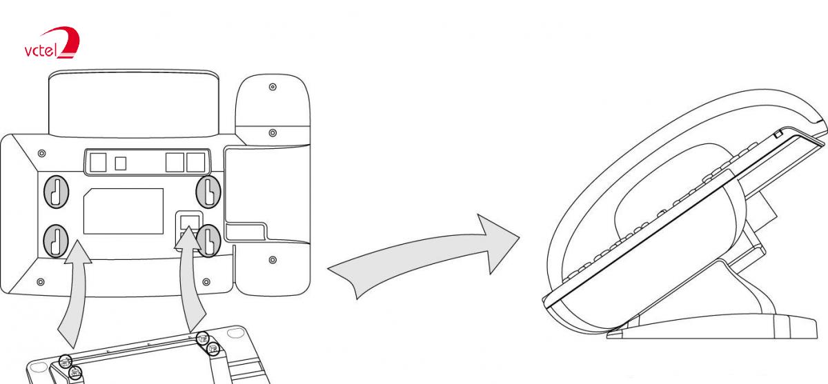 Cách gắn chân đế điện thoại IP Yealink SIP-T23P vctel