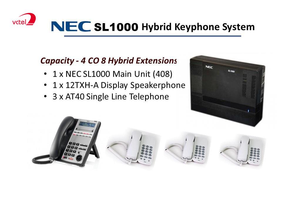 Tổng đài NEC SL1000 cấu hình 04 trung kế 08 máy lẻ bảo hành 12 tháng tại VCTEL