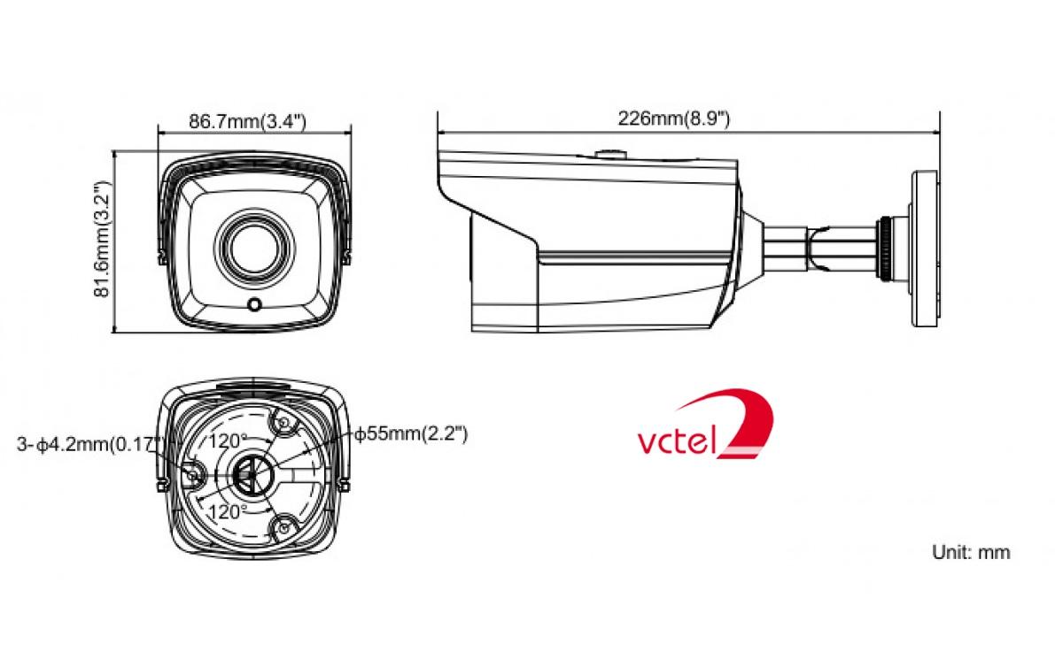 Cấu tạo Camera theo dõi an ninh Hikvision DS-2CE16F1T-IT5 chính hãng vctel